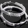 The Bridal Wedding Hoop Earrings Double Rows Shiny CZ Diamond Big Ear Accessories Jewelry Drill Women