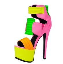 Fluorescent Color Pink Green High Platform Women Sandals Cut-out Peep Toe Ankle Strap Gladiator Sandals Women Night Club Shoes laser fluorescent color spike strange heel sandal cut out high platform women dress shoes peep toe rivet t strap lace up sanadal