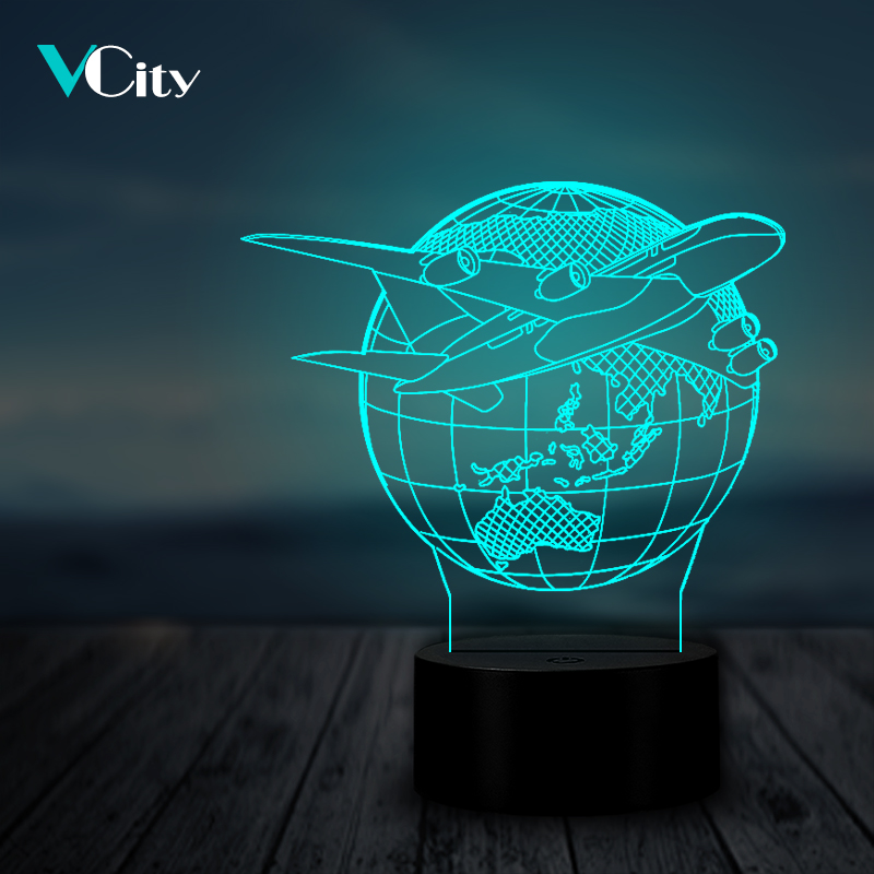 VCity Airplane Earth 3D Night Light Home Decor Lighting Cable LED USB BedroomDecoration Multicolor Table Lamp Travel Kids Gift image