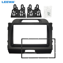 LEEWA Car 2DIN CD DVD Radio Fascia Frame for KIA Sportage 2010+ Dashboard Panel Mount Adapter Trim Kit #CA5183