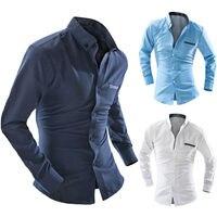 Mens Long Sleeve Formal Shirt Business Work Smart Formal Casual Dress Shirt Tops