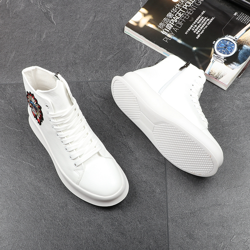 CUDDLYIIPANDA New Fashion High Top Casual Shoes for Men Spring Autumn Rivets Breathable Oxfords Zip Sneakers Zapatos Hombre