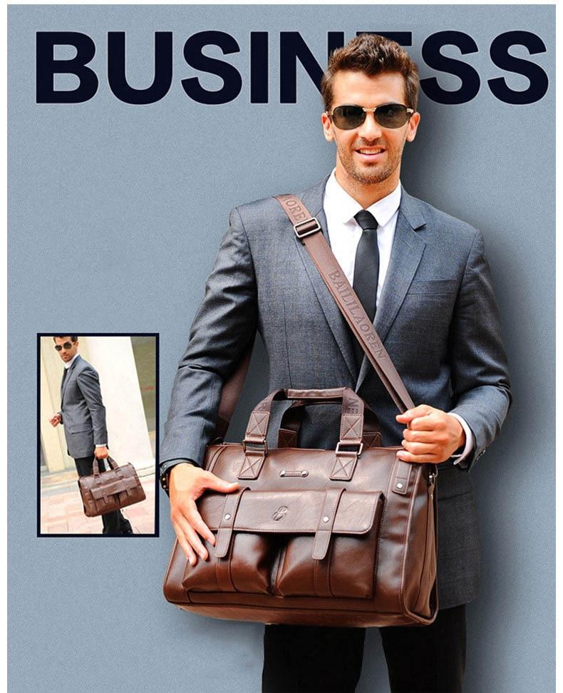 HTB1sKX4SmzqK1RjSZFpq6ykSXXac Men Leather Black Briefcase Business Handbag Messenger Bags Male Vintage Shoulder Bag Men's Large Laptop Travel Bags Hot XA177ZC