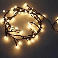 2.5M 72Leds Milky Ball Firecracker LED String Light Rattan Branch Globe Ball Fairy Lamp For New Year Christmas Home Decoration
