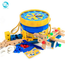 Logwood Baby Wooden Toy Real life Pretend Toy Tool Toy Garden Tool Baby Combination learning education Toy Gift R(China)