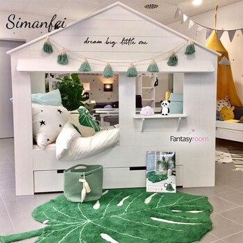 Simanfei 2019 New INS Leaf Shape Cotton Blanket Nordic Children Home Decoration Carpet Door Mat Photography Props Leaf Mat