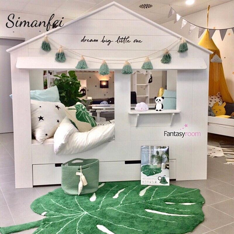 Simanfei 2019 nouveau INS feuille forme coton couverture nordique enfants décoration de la maison tapis porte tapis photographie accessoires feuille tapis