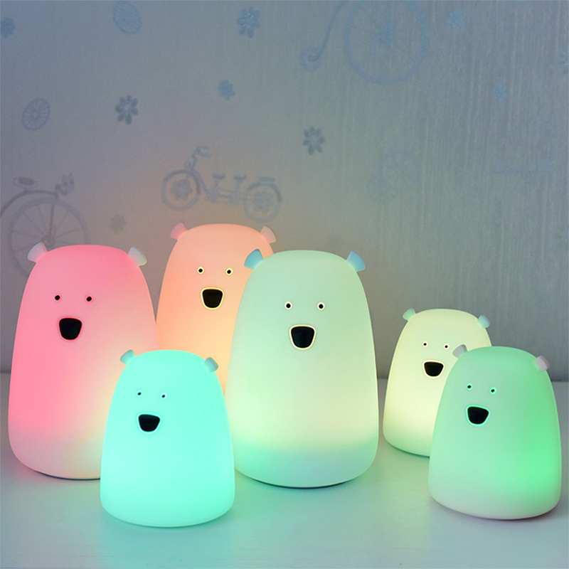 Colorful Bear Silicone LED Night Light Chargeable Battery Tos