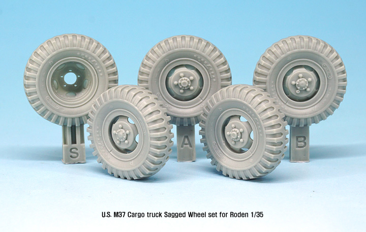 1/35 Modern US M37 Cargo Truck Sagged Wheel Set   Toy Resin Model Miniature Kit Unassembly Unpainted
