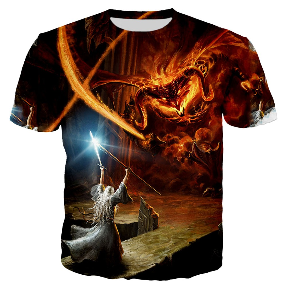 PLstar Cosmos 2019 Verão camisa Nova Moda t Engraçado 3D Impressão senhor dos anéis gandalf vs balrog tshirt Ocasional tees XS-7XL