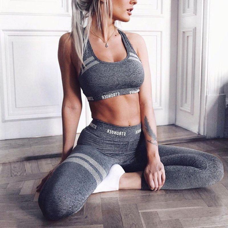 Mulheres 2 pçs roupa do esporte letras sem costura colheita superior colete de cintura alta leggings favo de mel listrado terno treino de fitness