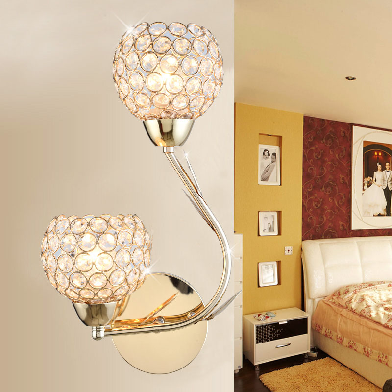 Crystal wall lamp bedside lamp double head modern simple creative bedroom living room staircase aisle balcony led wall lamp round crystal lamp bedroom bedside lamp wall lamp simple modern personality aisle led living room wall