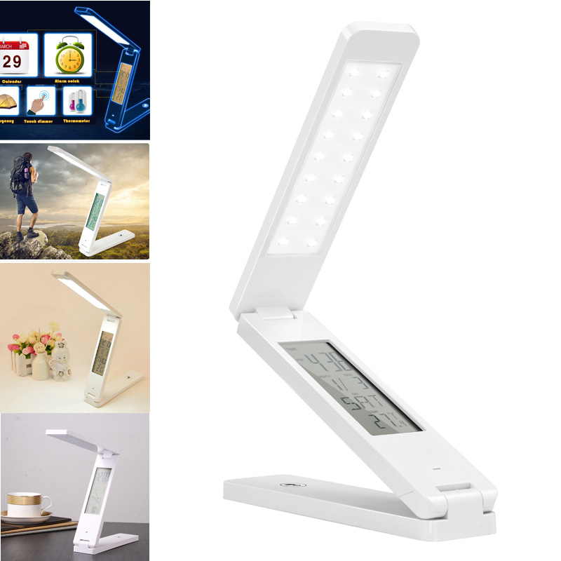 Foldable LED Reading Table Lamp Dimmable Protect Eyesight Study with Touch Control Calendar Alarm Clock Temperature Desk Light boruit mini 800 lumen q5 led headlight 3 mode rechargeable zoomable headlamp white light for hunting fishing head torch lanterna