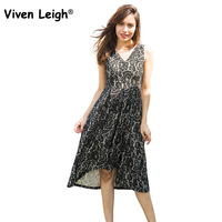 Viven Leigh Sleeveless Sexy Lace Sundress 2017 Ladies Elegant Double V Neck Floral Lace Dress For