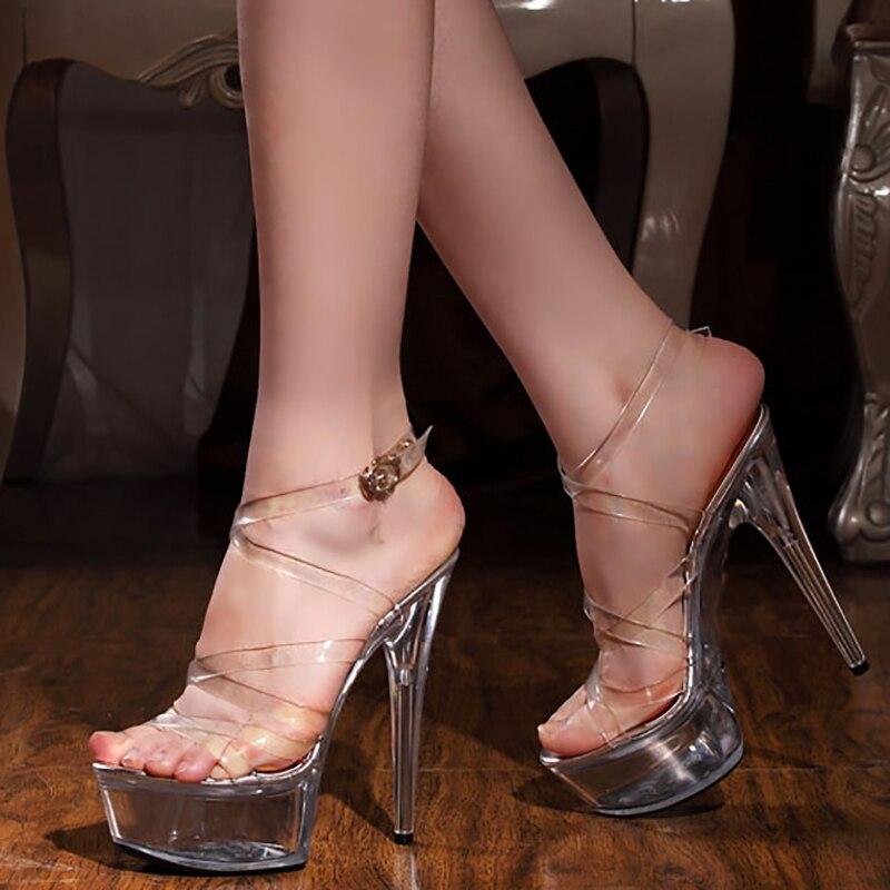 Zapatos mujer plataforma sandalias cristal verano gladiador zapatos 15 cm tacones altos mujeres transparentes tacones Peep Toe zapatos de mujer-in Sandalias de mujer from zapatos    1