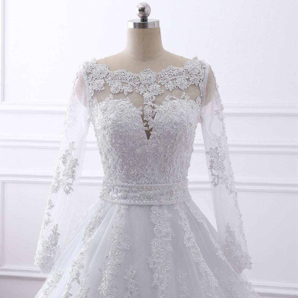 2017 new Vestido de noiva Long Sleeves Wedding Dresses Sexy Back Bride Dresses Wedding Gowns Princess Casamento Robe de Mariage 4
