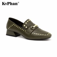 KvPhan Luxury Metal Woman Pumps Genuine Cow Leather 2017 Fashion Slip On High Heels Shoes Woman
