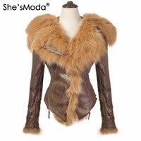 She'sModa Light Weight Real Fox Fur Fleece Slim Winter Women's Zipper Hoodie Motorcycle Coat Jacket Plus Size