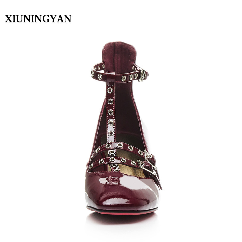 XIUNINGYAN Mary Jane Shoes Woman Cow Patent Leather Pointed Toe Rivets Beaded Red Wine High Heel Metal Ankle Flats Sexy Shoes