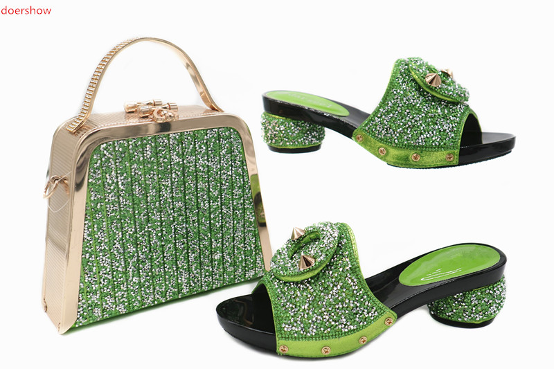 doershow Charming Italian Shoes With Matching Bags Rhinestones Black High Quality African Shoes And Bags Set for wedding TN1-20 doershow good looking italian shoes with