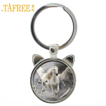 TAFREE Brand animal Pentium Horse keychain coat color little white shaggy and shiny art round Glass cabochon trendy jewelry A49 image