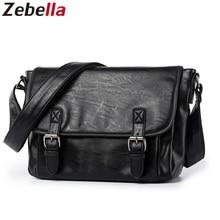 Zebella Simple Famous Brand Business Men Briefcase Bag Luxury PU Leather Black Laptop Bag Man Shoulder Crossbody Bag Bolsa Malet