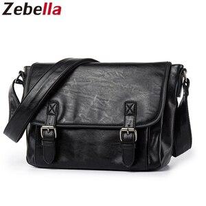 Image 1 - Zebella Simple Famous Brand Business Men Briefcase Bag Luxury PU Leather Black Laptop Bag Man Shoulder Crossbody Bag Bolsa Malet
