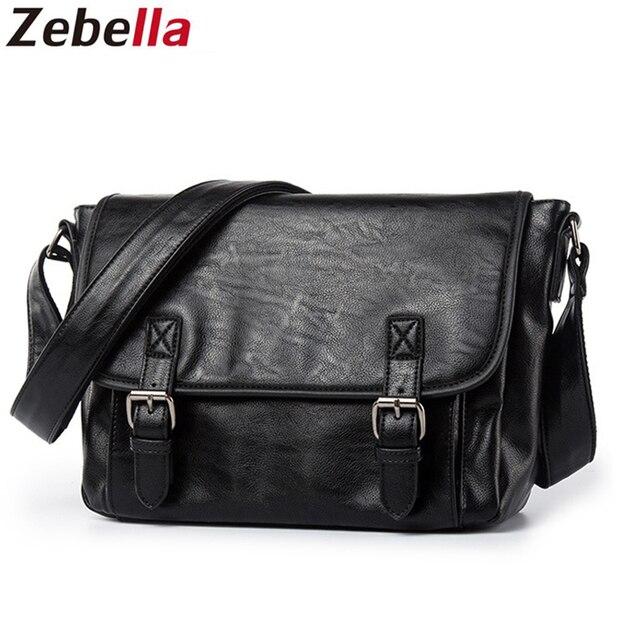 Zebella Đơn Giản Thương Hiệu Nổi Tiếng Nam Công Sở Cặp Túi Da PU Sang Trọng Đen Túi Laptop Người Đeo Vai Túi Đeo Chéo Bolsa Malet