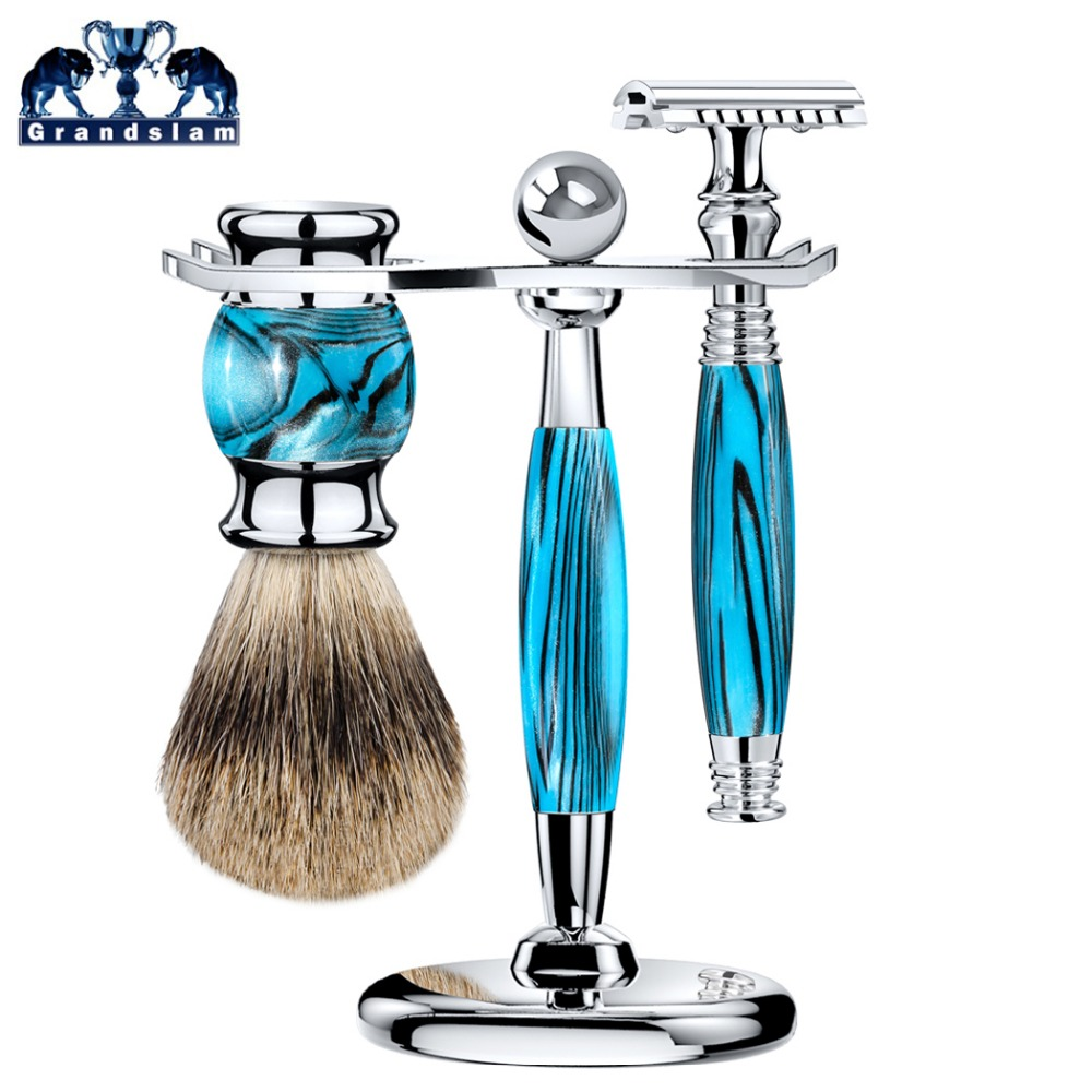 Grandslam 3pcs/set Man Double Edge Safety Razor Shaving Razor Set Long Handle Badger Shaving Brush Stand Holder Wet Shave Tool grandslam 3pcs set man double edge safety razor shaving razor set long handle badger shaving brush stand holder wet shave tool