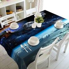 цена на Senisaihon 3D Tablecloth Blue sky Planet Pattern Waterproof cloth Thicken  Rectangular Wedding table cloth Home Decorations