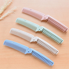 1 Pcs Eco Friendly Wheat Straw Foldable Massage Hair Comb Brush Anti-Static Travel Portable Combs Folding Hairdressing Tool