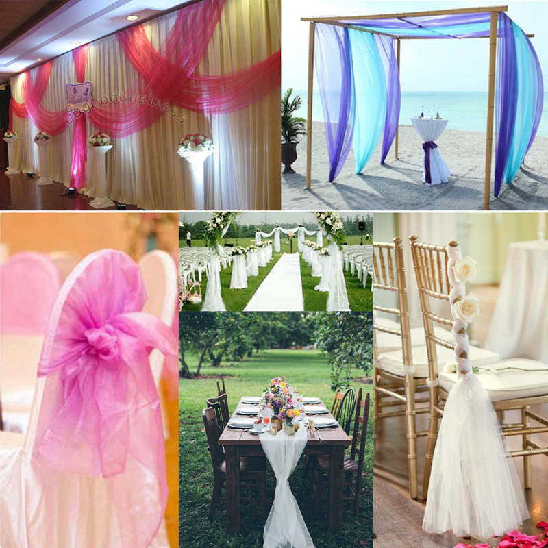 Haochu 50mx150cm Wedding Decor Sheer Organza Fabric Table Runners Escalator Stair Decoration Tulle Roll Casamento Banquet Favors In Party Backdrops From