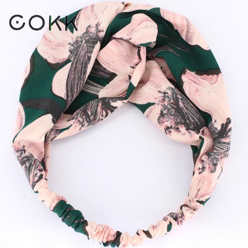 COKK Sweet Flower Headband Hair Accessories For Women Wide Hairband Turban Hair Bow   Headwear   Elastic High Quality Hair Band Lady