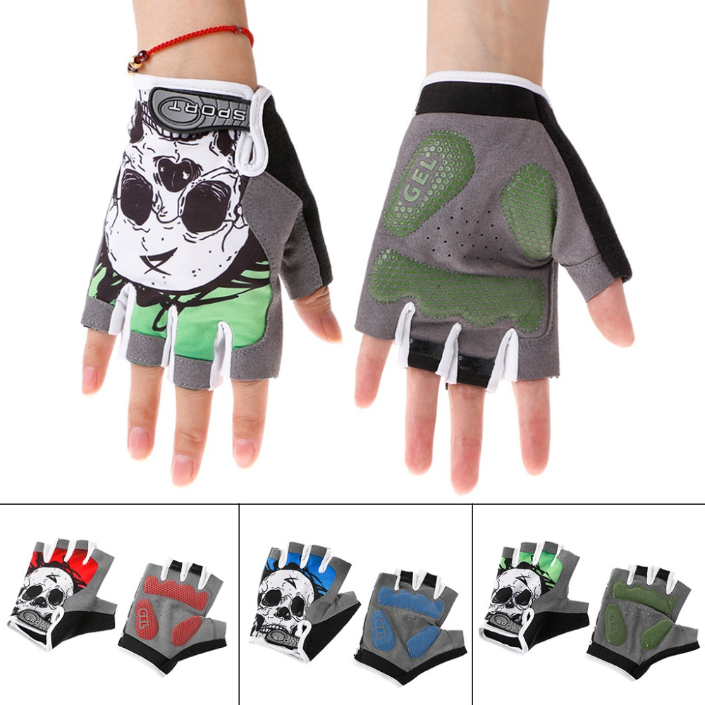Cycling Gloves Half Finger Skull Breathable Anti Sweat Non Slip Gel Sport Mitten