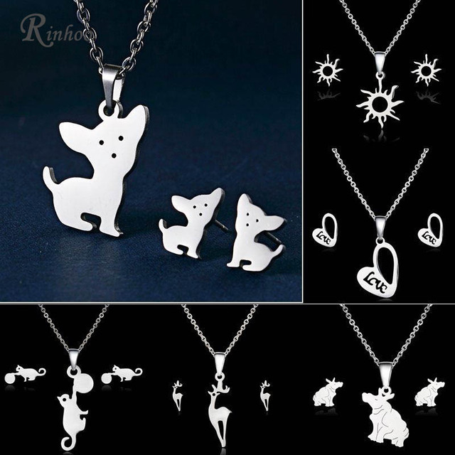 Rinhoo Cute Stainless Steel Animal Dog Cat Eagle Deer Heart Love Necklace  Earrings Set Wedding Jewelry For Women Girl Sets 1f7ba87e7