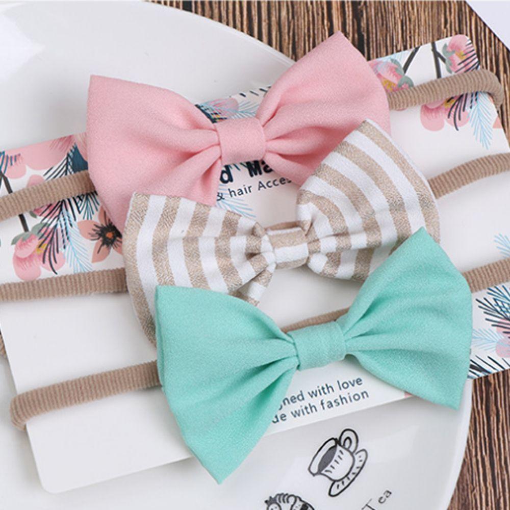3pcs//set Baby Soft Headband Infant Decoration Bow Traceless Nylon Headband
