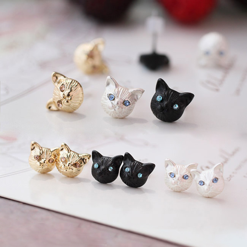 Fashion Cute Little Black Cat Stud Earrings For Women Jewelry Double Sided Head Ear Earring Boucle Oreille In From Accessories