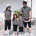 Olhar de Linho de Algodão T-Shirt + calças de verão Da Família Família Terno Combinando Roupas Pai Mãe Filho Filha Roupas Da Moda botão Conjuntos E65