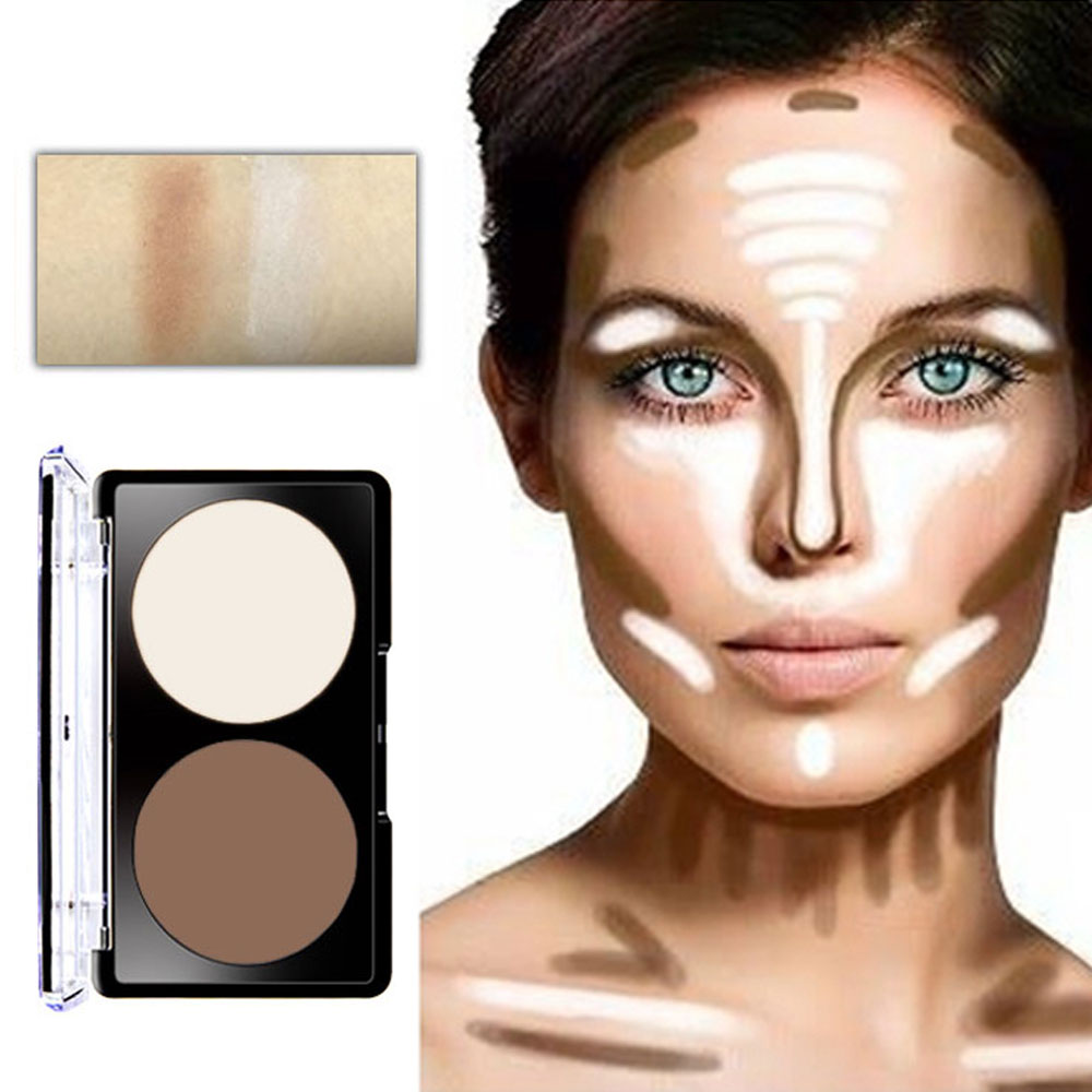 Face Highlighter Bronzer Shading Powder 2 Colors Countour Makeup Palatte Ultimate Glow Kit Blush Highlighter Grooming Powder
