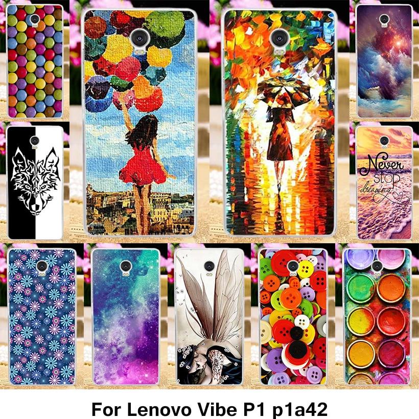 Galleria fotografica TAOYUNXI Mobile Téléphone Cas pour Lenovo Vibe P1 p1a42 P1c72 P1c58 4G LTE 5.5 Pouce Couverture de Bande Dessinée Coloré Peinture TPU Boîtier En Plastique