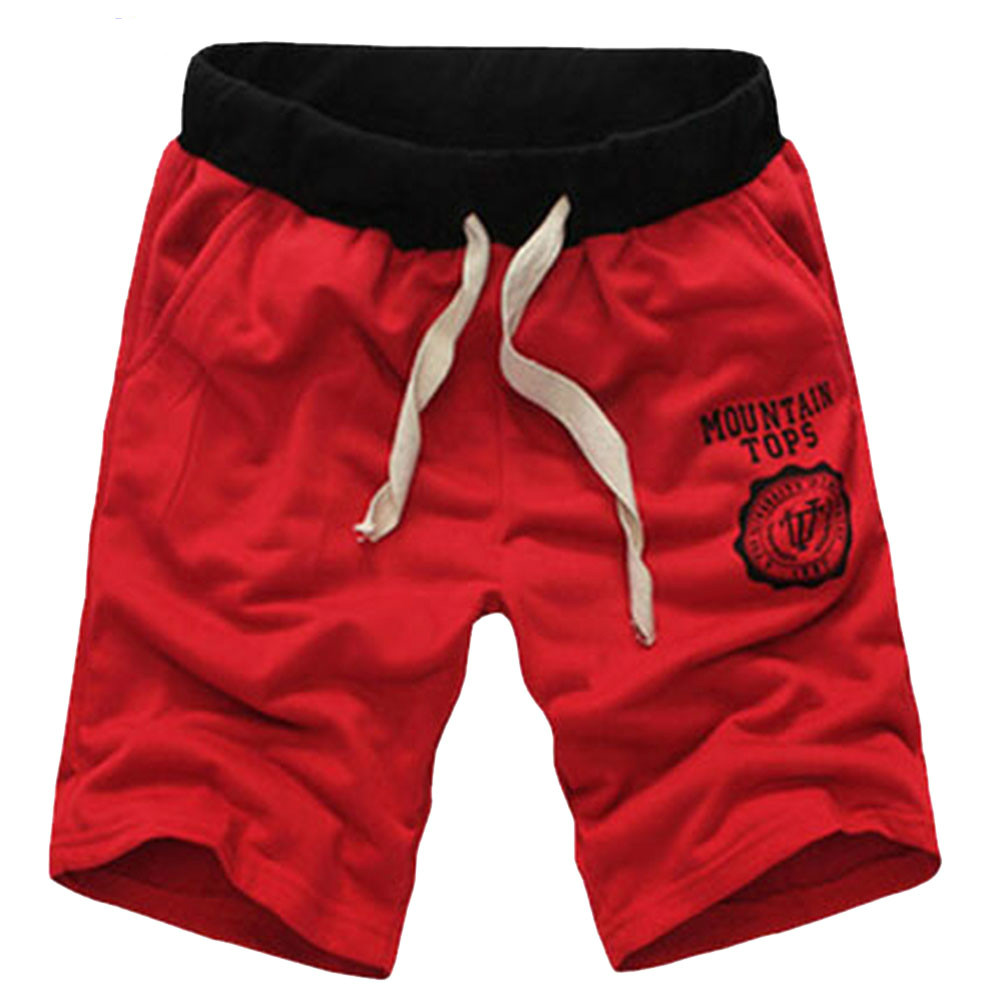 TFGS Male running sport cotton casual letter knee length shorts men brand new 2016 summer fashion plus size 9 colors clothing