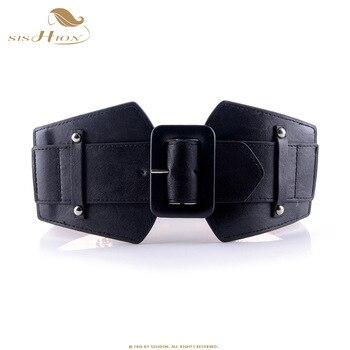 SISHION Vintage Wide Belts for Women Famous Brand Designer Elastic Party Belts Women's Red Camel Black Costume Belts VB0007 8