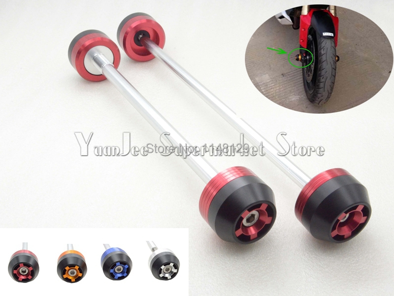 ФОТО Motorcycle accessories CNC Aluminum Front & Rear Axle Fork Crash Sliders Wheel Protector For DUCATI MONSTER 659 2013-2014