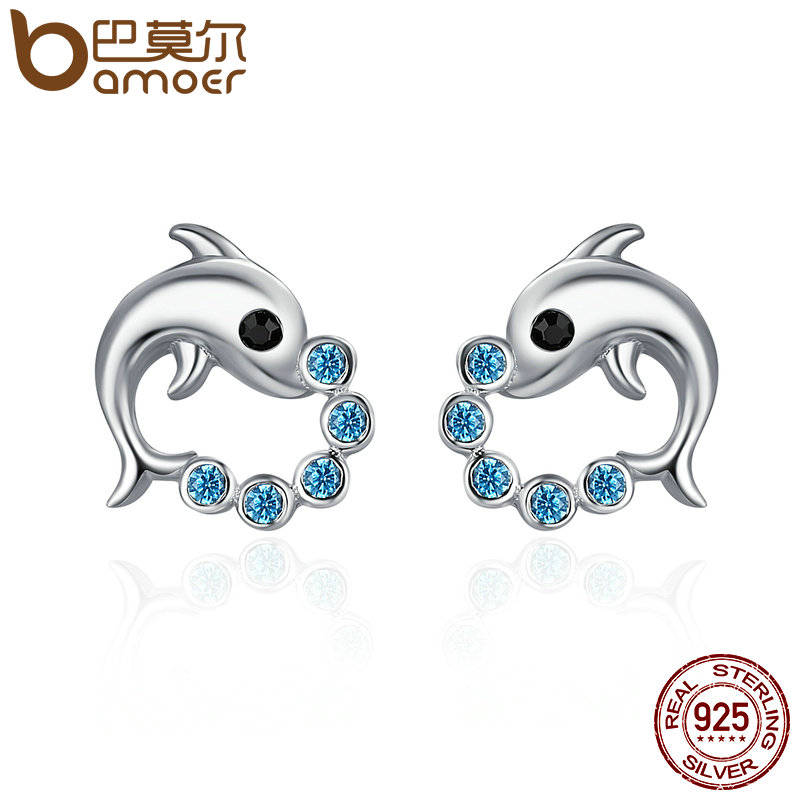 купить BAMOER Genuine 925 Sterling Silver Cute Dolphin Love Ball Animal Stud Earrings for Women Sterling Silver Jewelry Bijoux SCE179 по цене 339.31 рублей