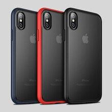 , Odporna na wstrząsy etui do iPhone XR miękka TPU przezroczysty PC tylna pokrywa dla iPhone XS Max 7 8 Plus przypadku cienki matowy przypadku