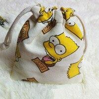 IVYYE 14 или 17 см Сумки на шнурке из мультфильма Simpsonss хранение парусина сумки для макияжа сумка для монет комплект Карманный Кошелек Новинка