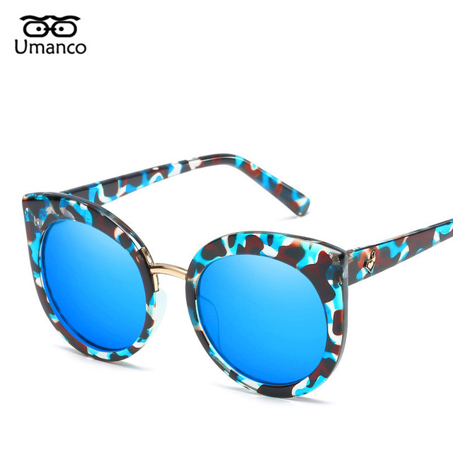 55a23c53d9672 Umanco Trendy Round Cat Eye Sunglasses Women Men Colorful Lens Black  Plastic Eyewear Summer Beach Shades Glasses Vintage UV400