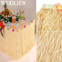 Plastic Hawaiian Luau Party Table Skirt Coloful Flower Grass Garden Beach Party Table Skirts Party Events Decoration Supplies