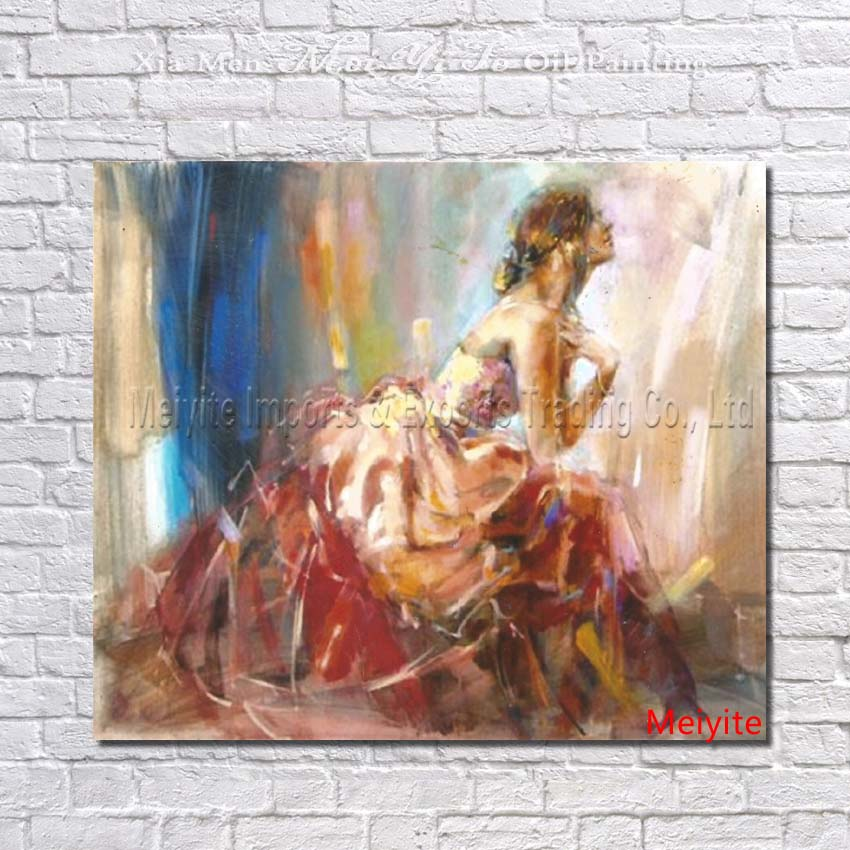 Frameless handpainted Oil Painting on Canvas abstract figure beautiful woman wall art picture for living room home decor