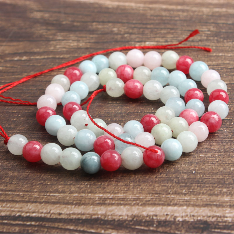 LanLi natural stone Mixed color jades Loose beads 6 8 10 12mm DIY man woman bracelet necklace ear stud jewelry accessories in Beads from Jewelry Accessories